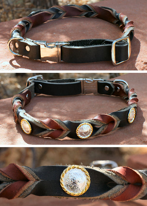 Leather Braided Quick-Snap Collars with Conchos