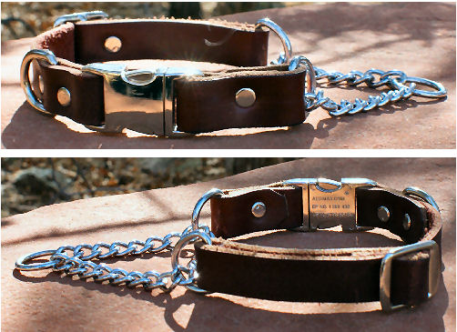 Leather Adjustable Flat Chain Martingale w/Quick-Snap Collar