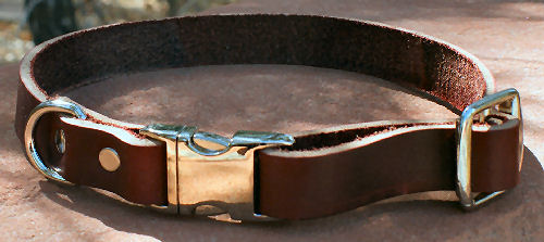 Leather Adjustable Flat Quick-Snap Collar