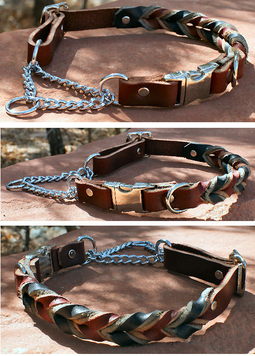 Leather Braided Adjustable Martingale Quick-Snap Chain Collars
